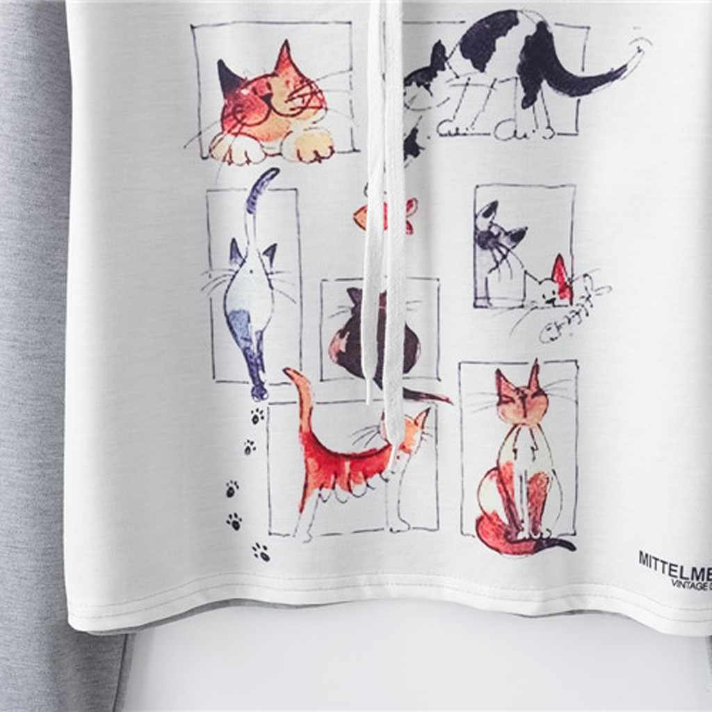 CHAMSGEND كنزات بغطاء للرأس kpop كنزات نسائية مطبوع عليها قطة ذات لون أبيض فاقع 2019 بلوفر بأكمام طويلة بقلنسوة ملابس خروج بغطاء للرأس F722