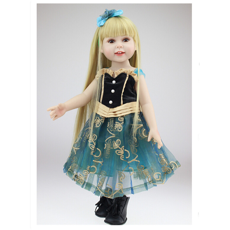 NEW 18 Inch  American Girl Princess Doll with Beautiful Dress, 45cm Vivid Lifelike Baby Vinyl Dolls Toys for Kid  18 inch lovely american girl princess doll baby toy doll with fashion designed dress journey girl doll alexander doll