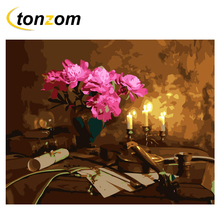 RIHE Flower Diy Painting By Number Violin Oil On Canvas Hand Painted Candlelight Cuadros Decoracion Acrylic Paint Art