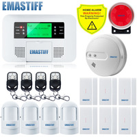 Free Shipping English Russian Spanish Wireless GSM Alarm Systems Security Home For House Office With LCD