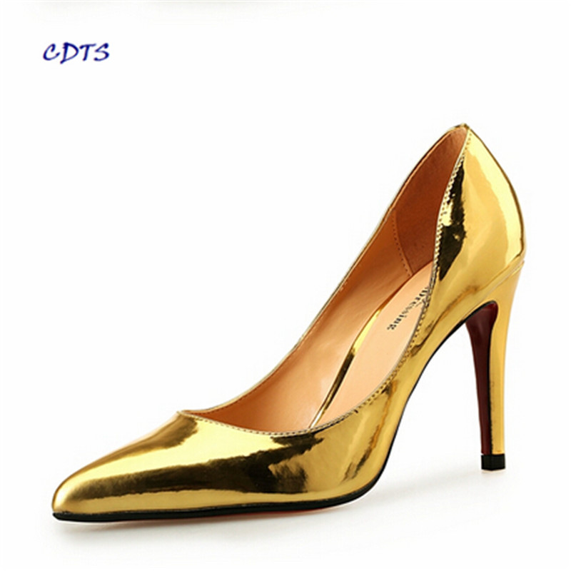 CDTS zapatos Plus:45 46 47 48 Spring/Autumn 10m thin high heels Pointed Toe Gold Bottoms wedding shoes sexy Nightclub pumps cdts king size 44 45 46 47 48 49 women party sandals 2017 summer gold bottoms 13cm thin high heels mujer shoes pointed toe pumps