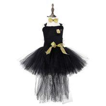e9019a066ec3 Chicas ropa vestido de Navidad traje de la princesa vestidos de fiesta para  niñas negro sólido sin mangas tul Tutu vestido de no.