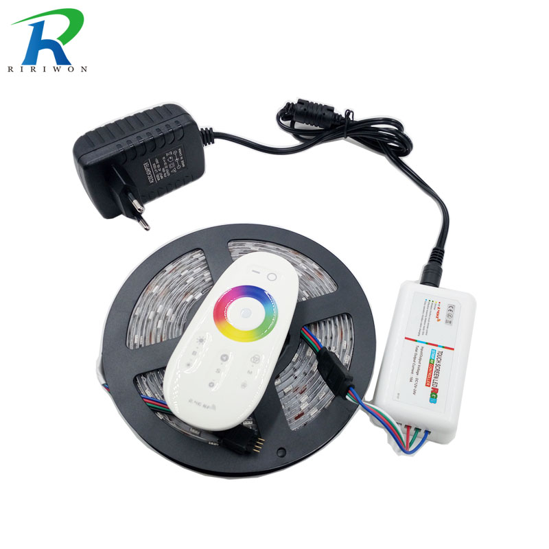 RiRi won SMD RGB LEDs Strip light 5050 5m 10m 15m 20m waterproof led light 60Leds/M led tape diode Controller DC 12V power set riri won smd5050 rgb led strip waterproof led light dc 12v tape flexible strip 5m 10m 15m 20m touch rgb controller adapter