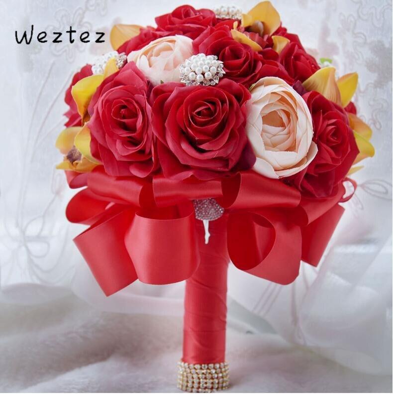Wedding Bouquet Bride Holding Flower Rose Bridesmaid Wedding Bridal Bouquet Ribbon Foam Flowers Rose D563