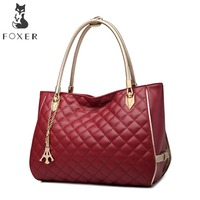 FOXER Brands Cowhide Leather Women Handbags Lady Luxury Bags Soft Shoulder Bag For Female Fashion Casual
