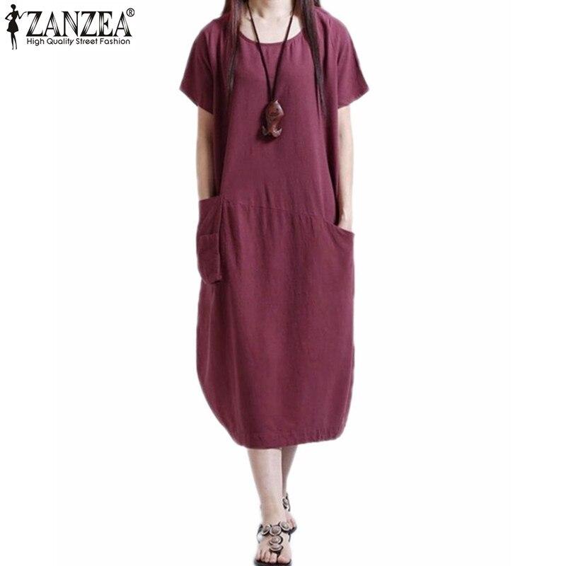 Vestidos estilo zanzea 2017 verano mujer elegante ropa de manga corta ocasional