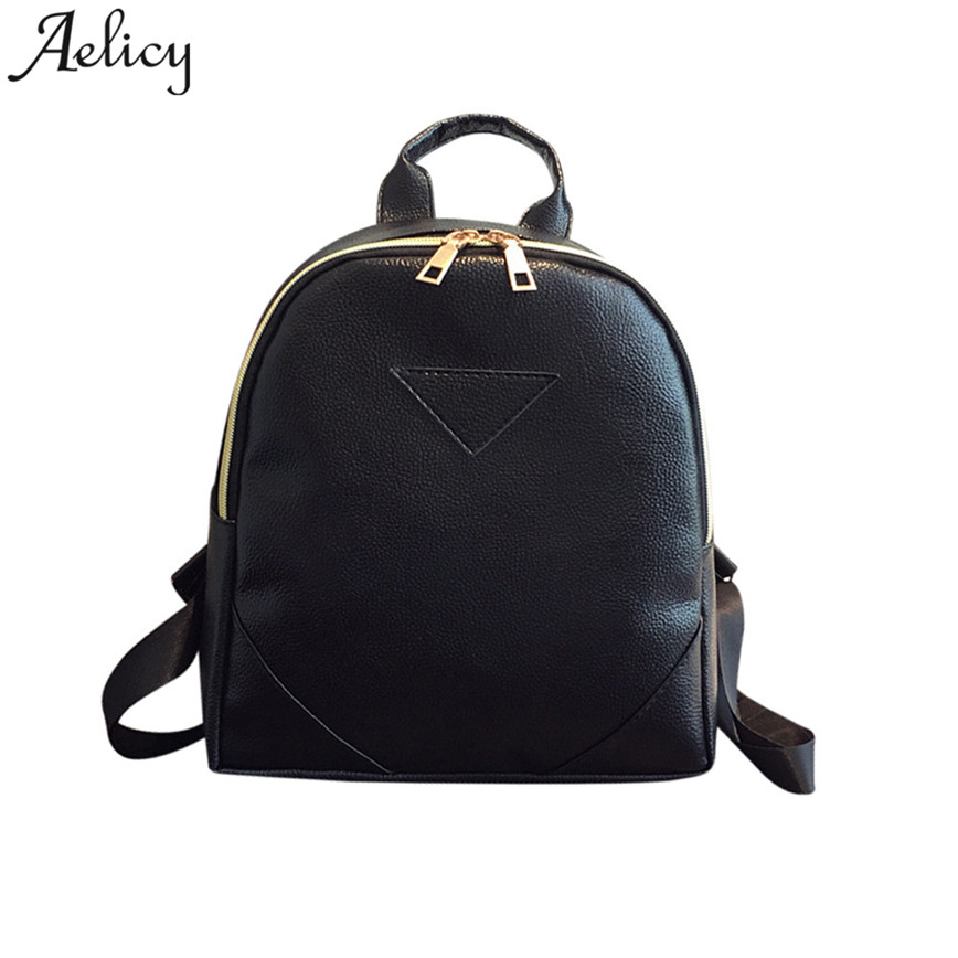 Aelicy Small PU Leather Backpack Women Black Brief Shoulder Bag Zipper Girls School Backpacks Teenager Student Bags C30 p p x split leather daily backpack casual women s travel bag female school shoulder bags teenager girls college student bag m616