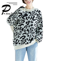 2018 literary art large size autumn winter new loose hooded long sweaters women Sweatsrs and pullovers fashion Leopard print