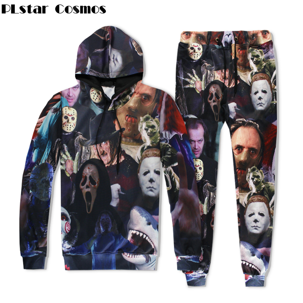 PLstar Cosmos 2017 Men/Women Sweatshirt Horror Movie Killers/Halloween Devil/Shark/Zombie 3D Print Hoodies+joggers pants Set