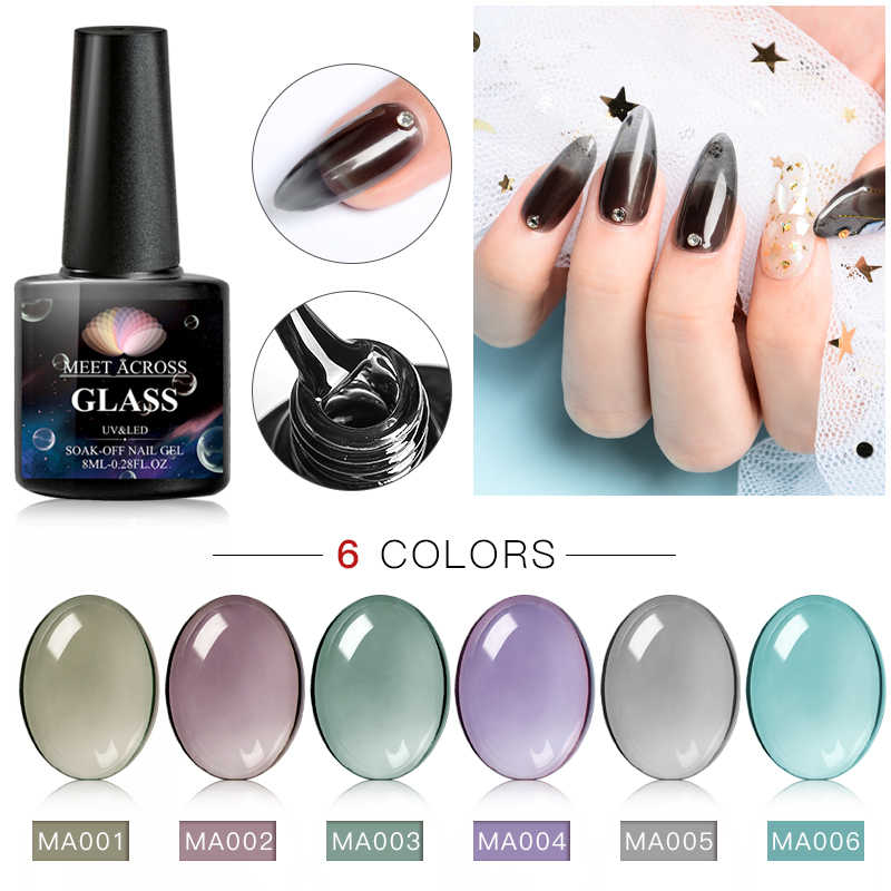 Bertemu Di Jelly Kaca Gel Nail Polish 8 Ml UV LED Gel Varnish Musim Panas Tembus Warna Kuku Gel Rendam Off gel Polish Nail Art