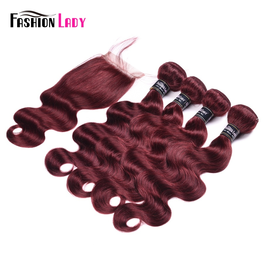 Fashion Lady Pre-Colored Indian Human Hair Bundles With Lace Closure Body Wave 4 Bundles 99j Bundles With Closure Non-Remy