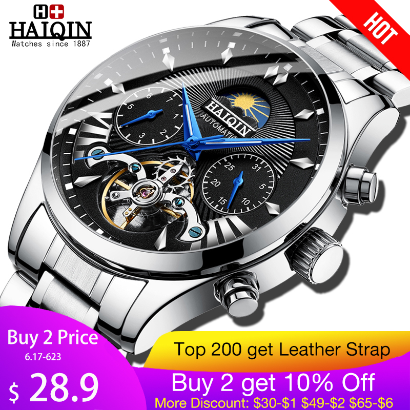 HAIQIN men's/mens watches top brand luxury automatic/mechanical/luxury watch men sport wristwatch mens reloj hombre tourbillon