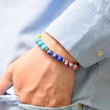 8MM Purple Emperor Stone Bracelet Natural Bead Men and women Vintage 7 Chakra Yoga Red orange Yellow green blue
