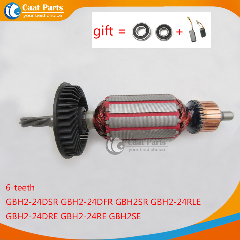 AC220-240V 6 Teeth Drive Shaft Armature Rotor for Bosch 24 GBH2-24 GBH2-24DSR GBH2-24DFR GBH2SE GBH2-24RLE GBH2-24DRE