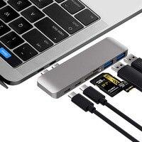 """Moyeu de USB C en aluminium 6 en 1 adaptateur de moyeu de USB type C Compatible pour 2016 2017 MacBook Pro 13 """"15"""" Thunderbolt 3  données de USB C Hubs USB     -"""