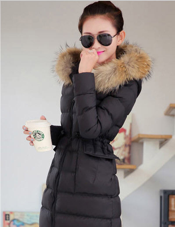 New 2014 Winter Thick Long Cotton-Padded Women Coats Female Raccoon Fur Collar Hooded Overcoats Zipper Solid Slim Coats E830 winter 2014 women thick hooded cotton padded coats patchwork letters slim zipper overcoat female plus size long parkas 3xl e782