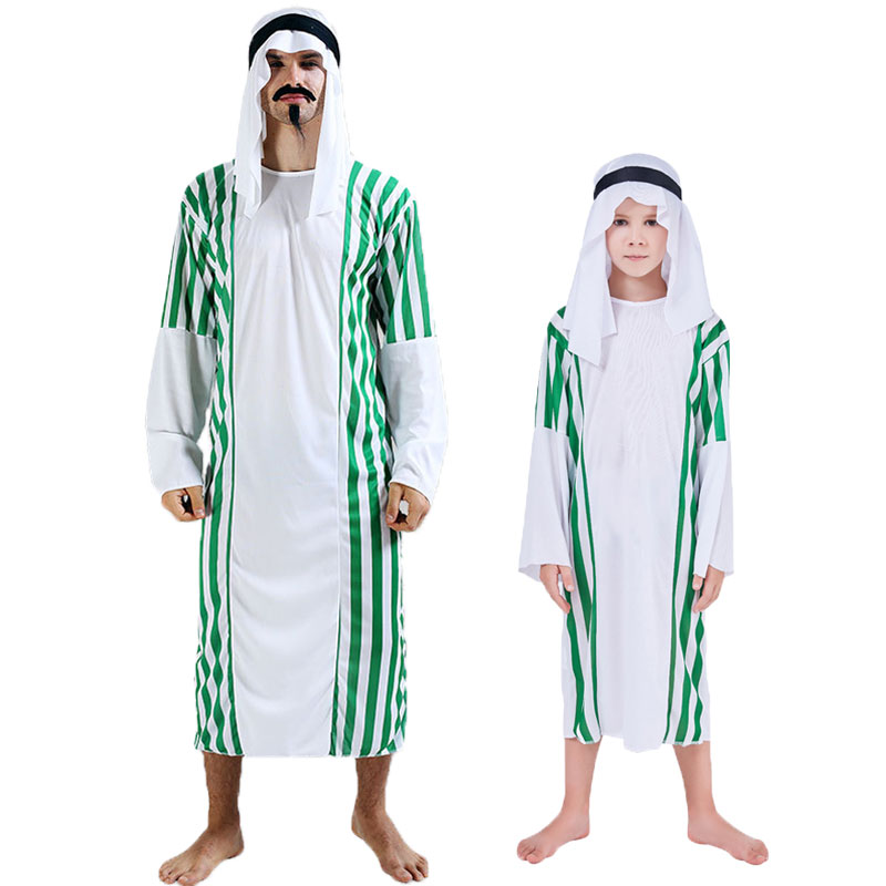 Umorden Halloween Middle East Arab Arabian Prince Costume for Kids Boys Muslim Costumes Men Green Stripe Carnival Cosplay Dress