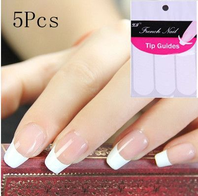 5pack Lot French Strip Nail Art Form Fringe C Style Guides Sticker Diy Line Tips