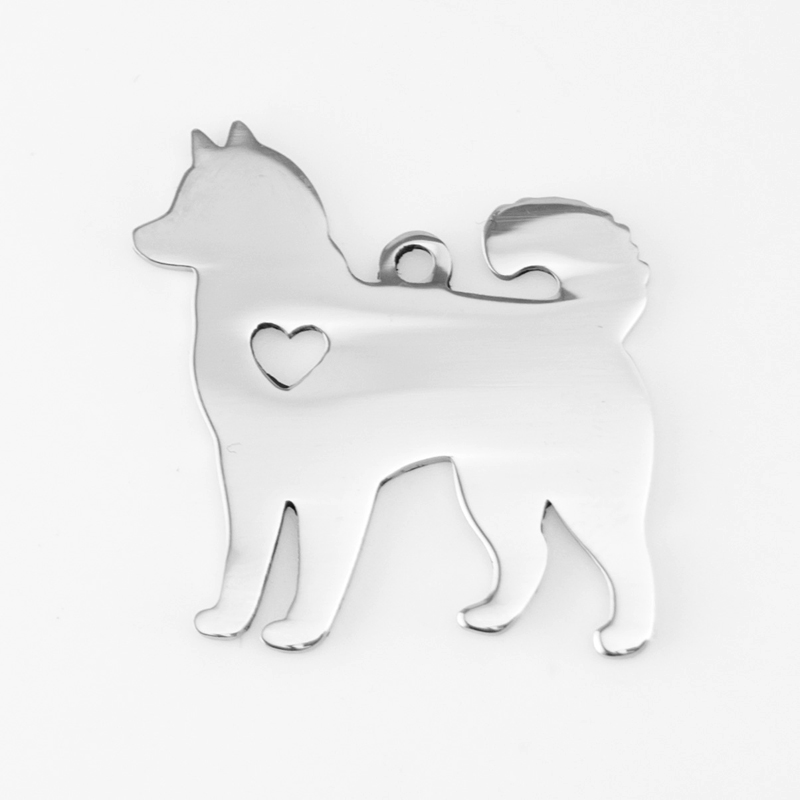 Charm Pendant DIY Sled Dog Alaskan Malamute Siberian Husky Heart Love Double Mirror Polish Stainless Steel Wholesale 50pcs
