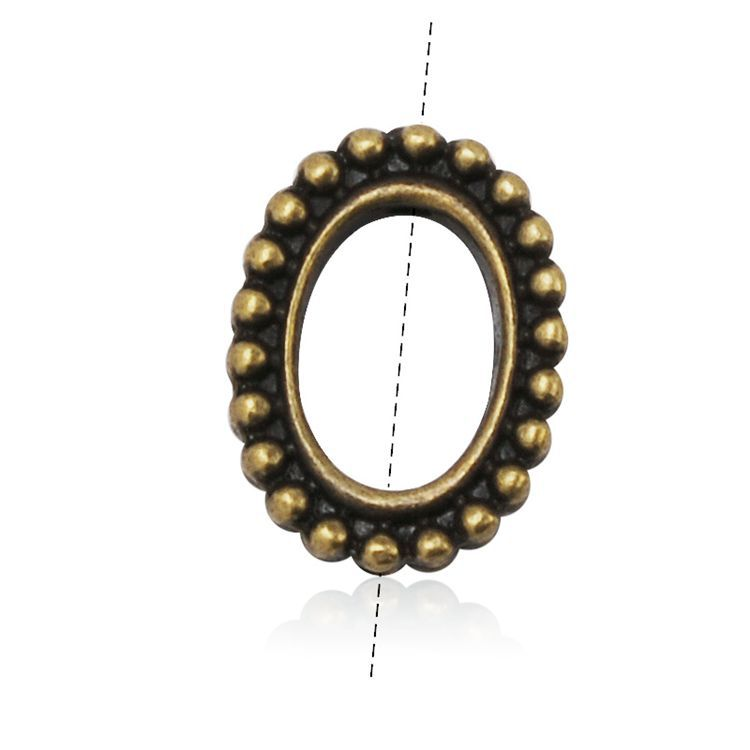 Metal Oval Granulated Bead Frames Jewelry Findings For DIY Antique Brass Plated, 20pcs/bag