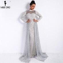 Missord 2018 Для женщин сексуальная высокая шея с длинным рукавом Ретро Геометрия платья Женский блеск Макси элегантное праздничное платье Vestdios FT9343