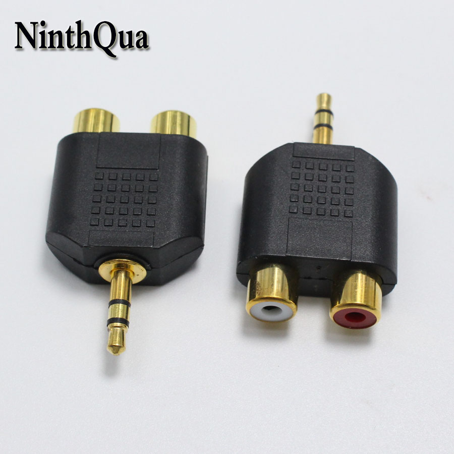 5pcs gold plated 3.5mm 3 Pole Male plug to RCA Female jack 3.5 Audio Connector 2 in 1 Stereo Headset Dual Track Headphone