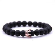 55e735f69bd4 Estilo Simple encanto Natural pulseras de piedra de alta calidad de oro y  de plata y negro y corona de oro rosa pulseras de homb.