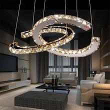 YANGHANG Chandelier LED Crystal Ring Chandelier Ring Crystal Light Fixture luster Chandelier Ceiling LED Lighting Circles Lamp modern circles led ring chandelier pendant lamp suspension light lighting fixture 90 260v