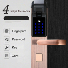 Smart Door Lock Fingerprint / Password / Key / IC Card / 4 in 1 Electronic Intelligent Locks For Home Office Apartment Hotel electronic smart door lock for hotel apartment free style handle fingerprint card mechanical key stainless steel