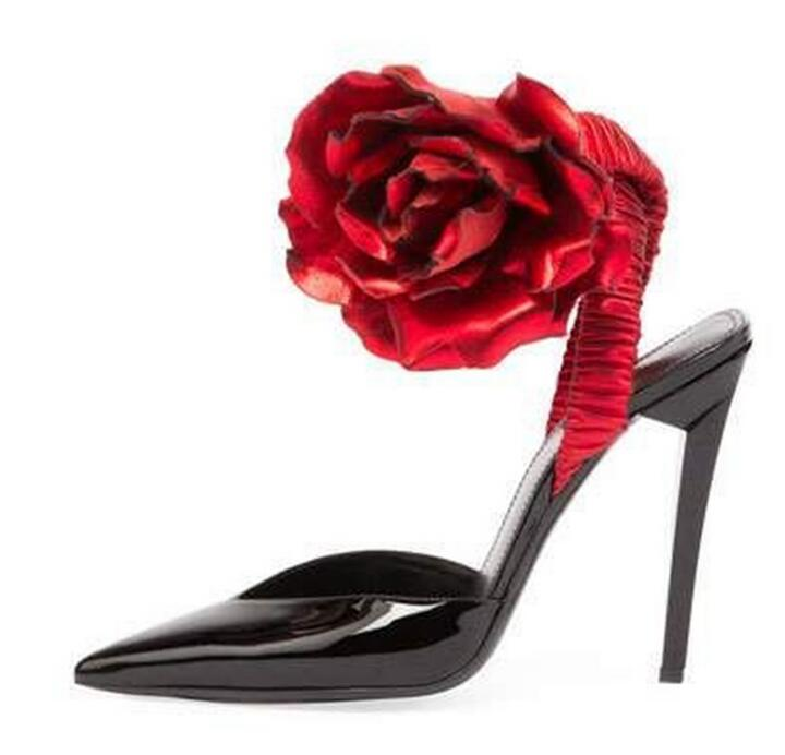 Chic Pumps Women Shoes Red Ankle Wrap Rose Flower Pumps Runway Fashion Sling-back Patent Leather Vintage Heels Pointed Toe Shoes