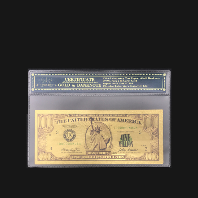 Best Selling American Bill Dollar Banknote One Million Dollar Banknote In 24k Gold Plated Note With Coa Sleeve For Collection