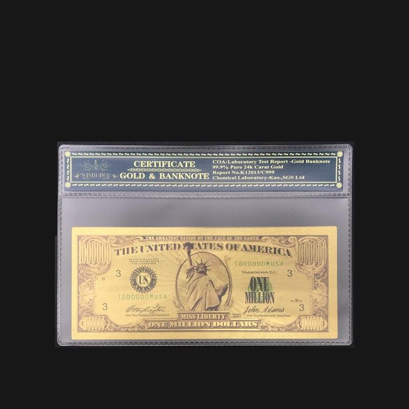 Melhor venda de notas de dólar americano nota de um milhão de dólares em 24k ouro chapeado nota com luva coa para a coleção
