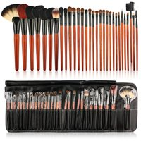 30PCS Wooden Handle Wool Hair Makeup Brush for Foundation Blusher Powder Eyebrow Cosmetic Brush Tools With Bag