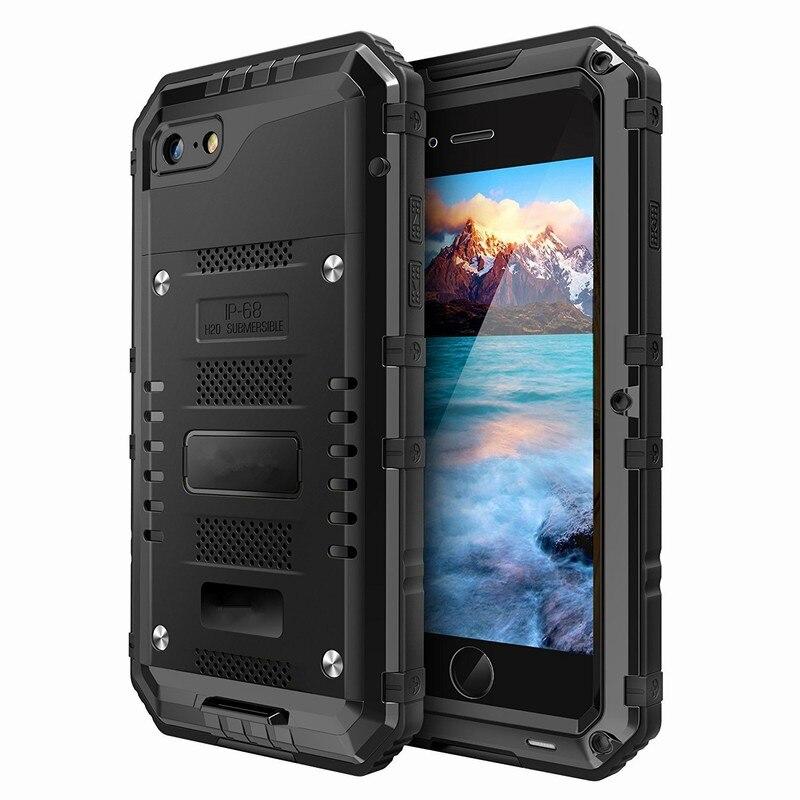 bilder für Ascromy Rüstung Aluminium Metallgehäuse IP68 Stoßfest Wasserdicht Telefon Fall für iPhone 5 5 s 6 6 s 7 Plus Displayschutz Hafenpersenning