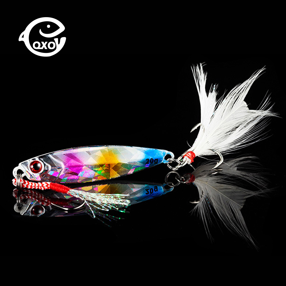 QXO Fishing Lure 10 20 30g Jig Light Silicone Wobbler Spinners Spoon Bait Winter Sea
