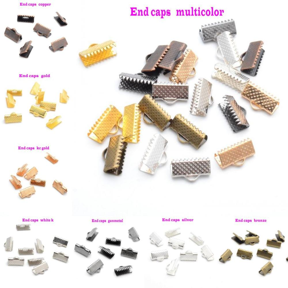 MIAOCHI Jewelry Findings Diy 6/10/13mm Crimp Beads Cove Clasps Cord End Caps String Ribbon Leather Clip Foldover DIY
