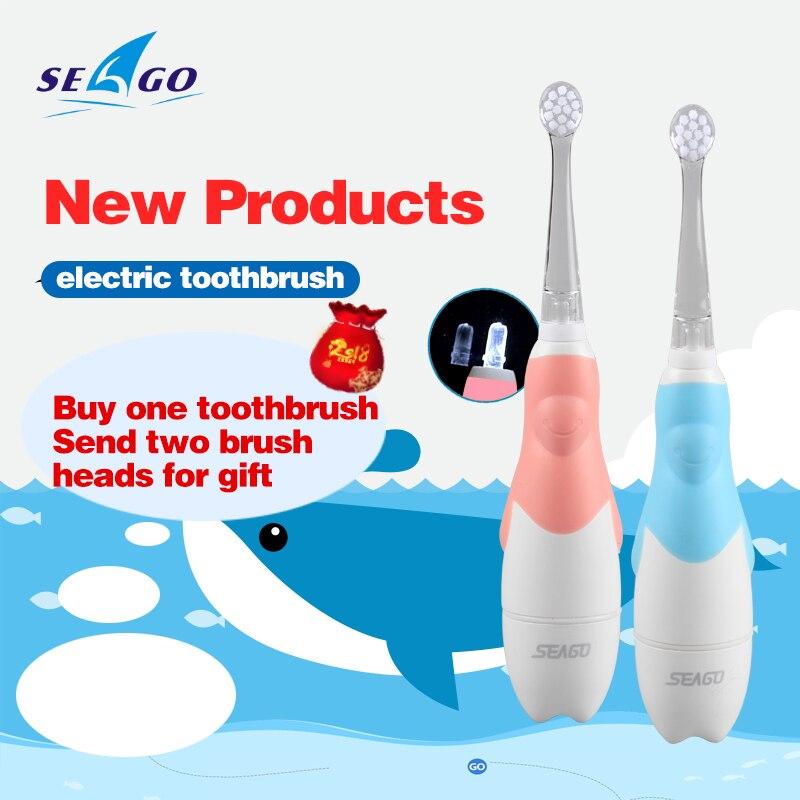 Seago niños Sonic cepillo de dientes eléctrico con la luz llevada higiene Oral 3 piezas cepillo higiene Dental reemplazo Sg513