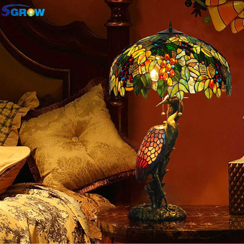 SGROW Art Deco Tiffany Hand-made Table Lamp for Bedroom Dining Room European Style Glass Lampshade Resin Base Desk Light Fixture
