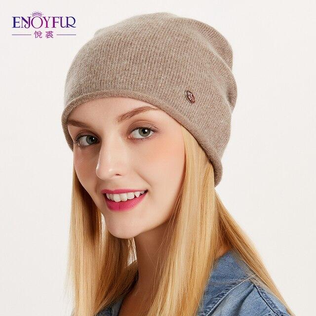 ENJOYFUR Весенние Осенние шапки для женщин вязаный шерстяной шапочки hat 2017 новый хорошее качество женский шляпа