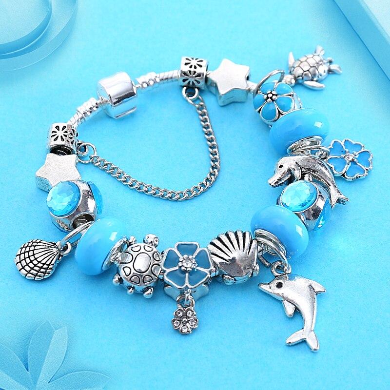 Синий Стиль цветок Кристалл Эмаль Шарм ПАН браслет Винтаж Серебряный океан dophin Браслеты с бисером и браслеты Pulseira feminina