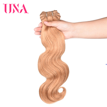 UNA Brazilian Human Hair Body Wave Bundles 3 Deal Non-Remy Sew-in Extensions 12-26 Color #27 Blonde