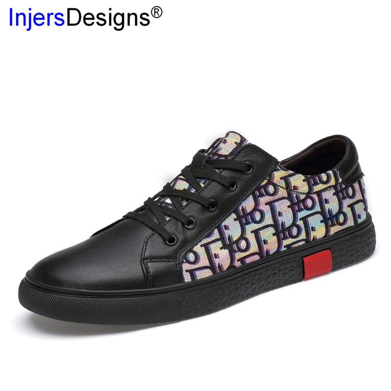 Shoes Genuíno Estampado De Tecido Couro Nova Formadores Sapatos Confortáveis Skateboarding Masculinos Men Sneakers white up Casuais Lace Moda Black Chegada wFt4qZz