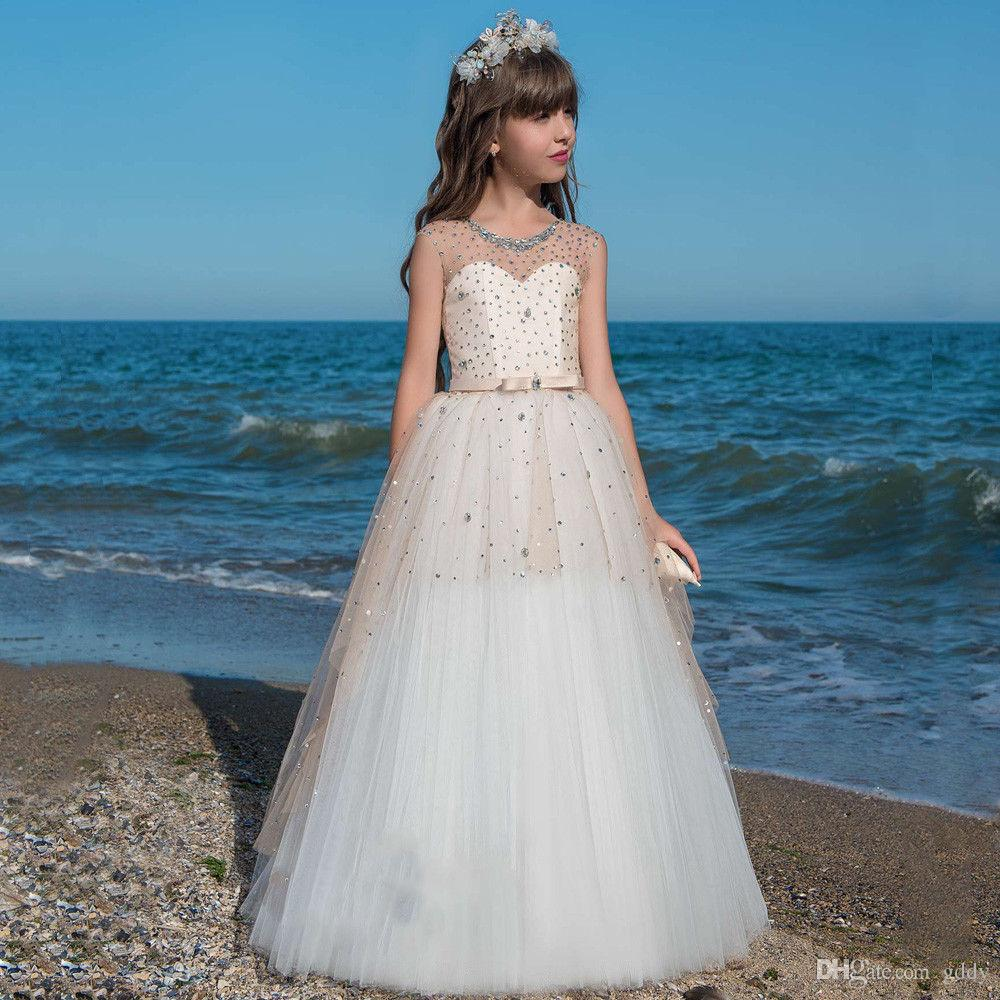 2019   Flower     Girl     Dresses   Weddin Sheer Jewel Neck Capped Sleeves   Girl   Ball Gown Floor Length   Flower     girl     Dress   Custom Made