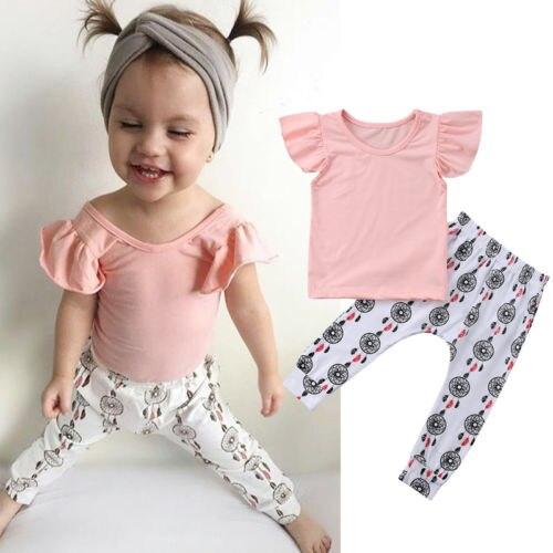 2PCS Newborn Kids Baby Girls Clothes Tracksuit Top+Pants Outfits Casual Suit Set