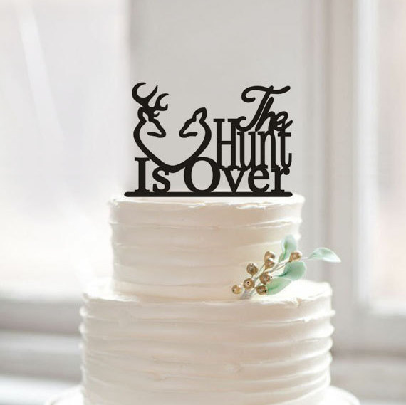 The Hunt Is Over Wedding Cake Topper Deer Toppers Antlers Vintage Rustic Design For Decoration