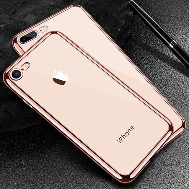 Luxury Ultra thin Plating TPU Silicone Flexible Soft Back Cover Case For  Iphone 5 5S SE 6 6S 7 8 Plus Transparent Clear Cases caf4ff9cb6
