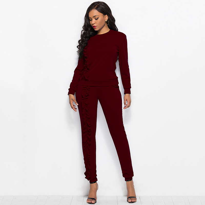 2019 Autumn New Solid Two Piece Sets Women Long Sleeve Round Neck Tops Trousers Ruffles Tracksuit Set 2 Piece Sets Ladies Suits 48