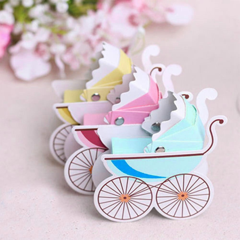10 Pcs/lot Cute Baby Shower Newborn Baby Candy Box Lovely Mini Stroller Candy Boxes Lovely Babyshower Kid's Party Gift Boxes