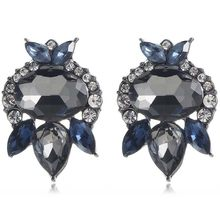 YaYi Gray Blue Glass White Rhinestone Dangle Earring Women's Fashion Gun Black Gem Earrings For Women E1122(China)