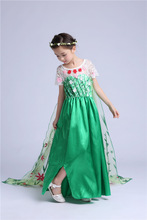 Kids Summer Girl Dress Frozen magic cartoon green Elegant Pageant wedding dresses clothes Cosplay Formal Party costome princess